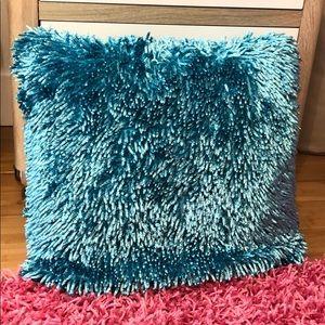 Turquoise shag throw pillow